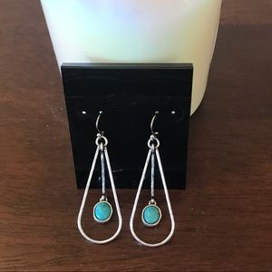 Silver Tone and Turquoise Dangle Earrings